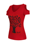 ByChicStyle Tree Printed Open Shoulder Short Sleeve T-Shirt - Bychicstyle.com