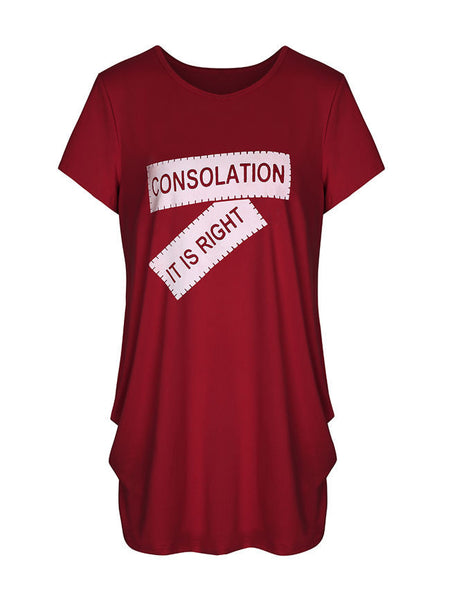 Loose Color Block Letters Round Neck Short Sleeve T-Shirt - Bychicstyle.com