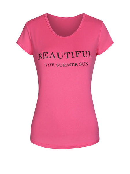 Round Neck Short Sleeve T-Shirt In Letters Printed - Bychicstyle.com
