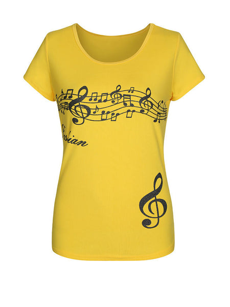 Music Score Printed Round Neck Short Sleeve T-Shirt - Bychicstyle.com