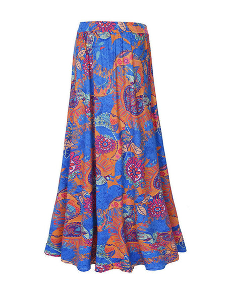 Color Block Printed Flared Maxi Skirt - Bychicstyle.com