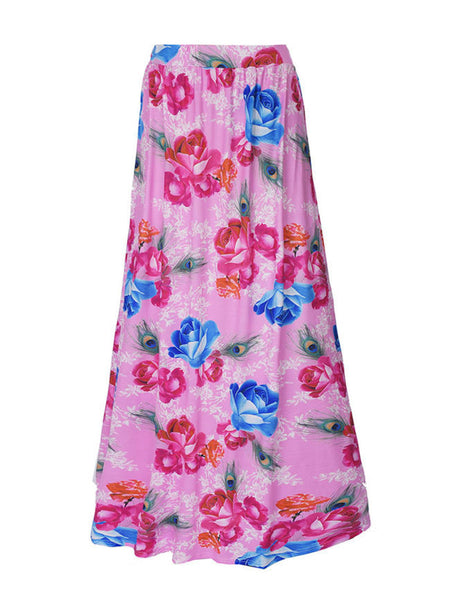 Casual Attractive Floral Printed Flared Maxi Skirt