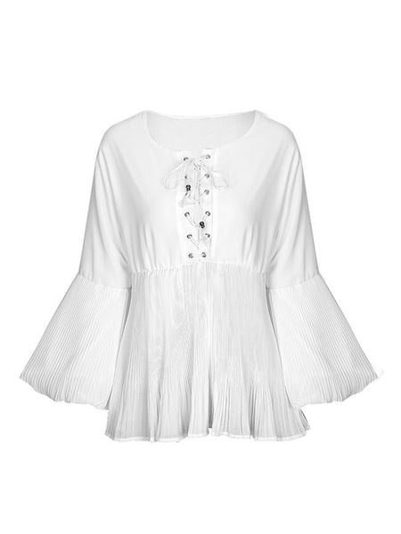 Solid Lace-Up Pleated Bishop Sleeve Blouse - Bychicstyle.com