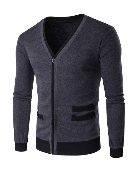 Casual Basic Designed Contrast Trim Men'S Cardigan