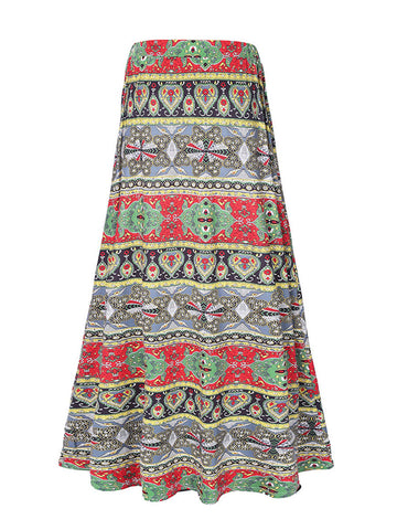 Special Striped Tribal Printed Flared Maxi Skirt - Bychicstyle.com
