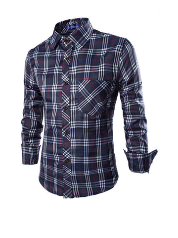 Classic Patch Pocket Plaid Men Shirt - Bychicstyle.com