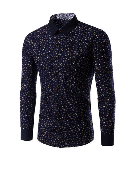 Casual Allover Tiny Floral Printed Men Shirt