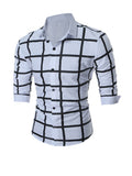 ByChicStyle Casual Turn Down Collar Big Plaid Printed Men Shirt