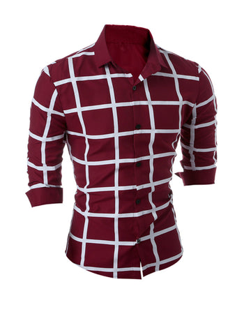 Casual Turn Down Collar Big Plaid Printed Men Shirt