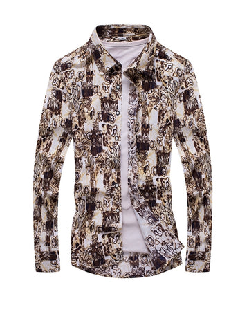 Stylish Turn Down Collar Abstract Print Men Shirt - Bychicstyle.com