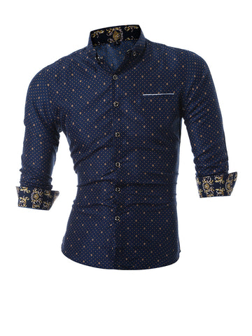 Turn Down Collar Retro Printed Men Shirt - Bychicstyle.com