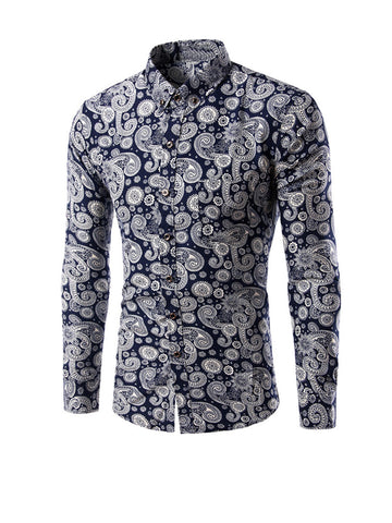 Long Sleeve Allover Paisley Printed Men Shirt - Bychicstyle.com