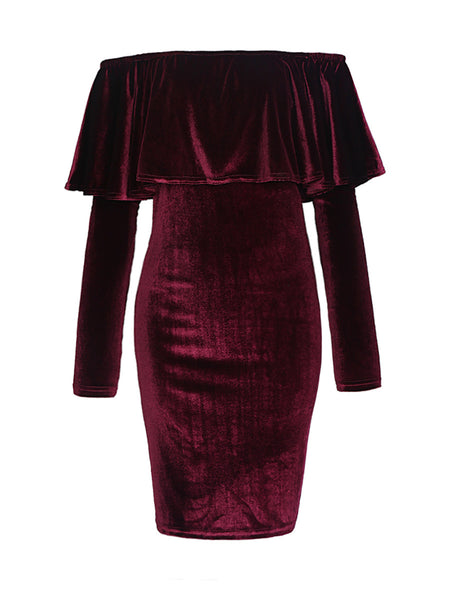 Off Shoulder Flounce Velvet Solid Bodycon Dress - Bychicstyle.com