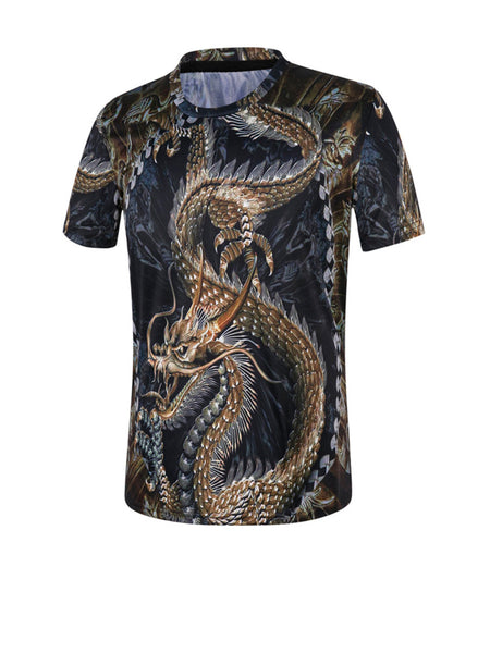 Casual Round Neck Dragon Printed T-Shirt