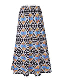 ByChicStyle Delicate Flared Maxi Skirt In Geometric Printed - Bychicstyle.com