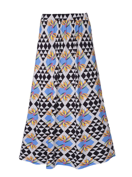 Delicate Flared Maxi Skirt In Geometric Printed - Bychicstyle.com