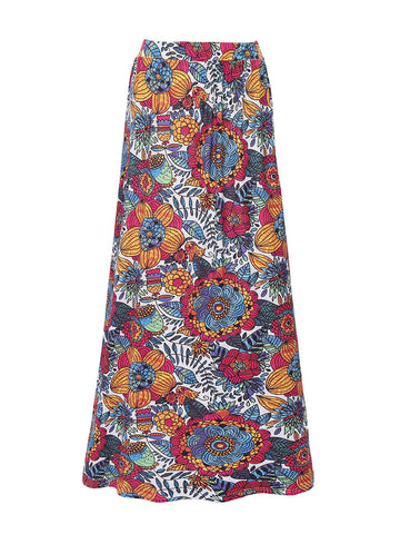Delightful Floral Printed Flared Maxi Skirt - Bychicstyle.com