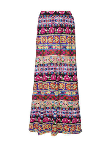 Delightful Flared Maxi Skirt In Striped Tribal Printed - Bychicstyle.com