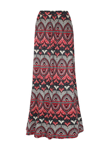 Dramatic Tribal Printed Flared Maxi Skirt - Bychicstyle.com