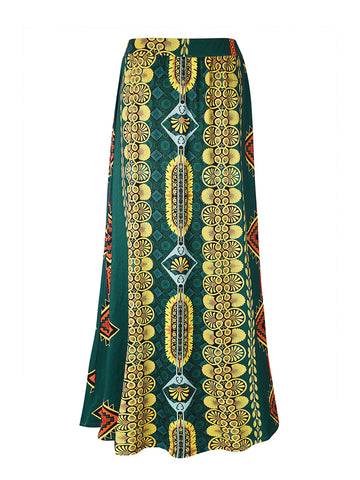 Color Block Tribal Printed Flared Maxi Skirt - Bychicstyle.com