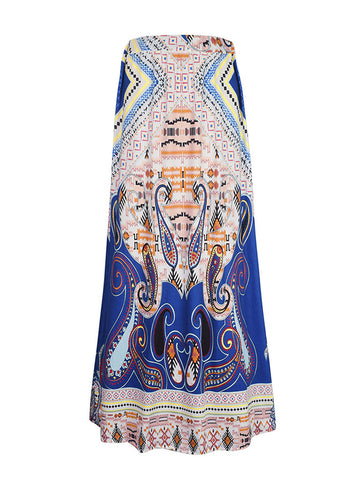 Colorful Tribal Printed Flared Maxi Skirt - Bychicstyle.com