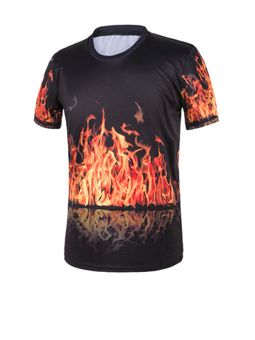 Round Neck 3D Fire Printed T-Shirt - Bychicstyle.com