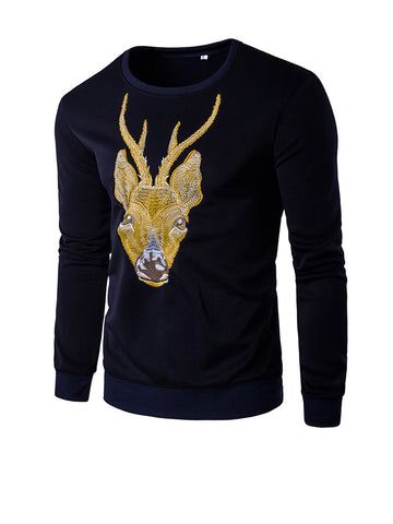 Round Neck Reindeer Embroidery Men Sweatshirt - Bychicstyle.com