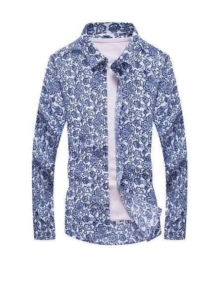 Turn Down Collar Retro Floral Printed Men Shirt - Bychicstyle.com
