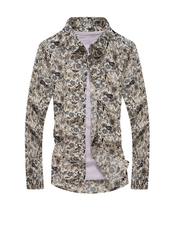 Unique Turn Down Collar Floral Printed Men Shirt - Bychicstyle.com