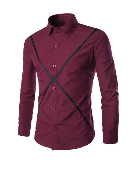 Long Sleeve Color Block Men Shirt - Bychicstyle.com