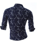 ByChicStyle Casual Turn Down Collar Classic Retro Printed Men Shirt