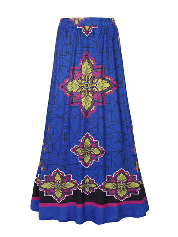 Delicate Tribal Printed Flared Maxi Skirt - Bychicstyle.com