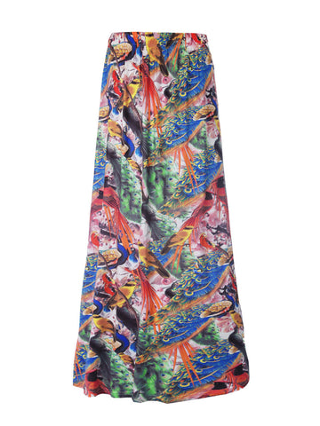 Colorful Peacock Printed Flared Maxi Skirt - Bychicstyle.com