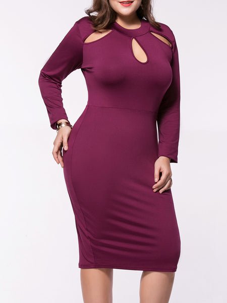 Casual Designed Crew Neck Cutout Solid Plus Size Bodycon Dress