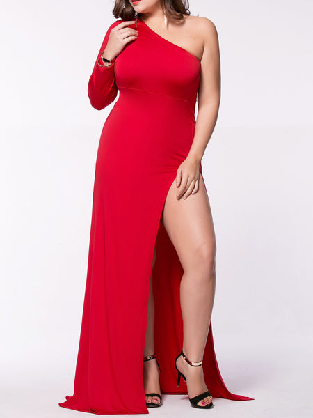 Sexy One Shoulder High Slit Plain Plus Size Maxi Dress - Bychicstyle.com