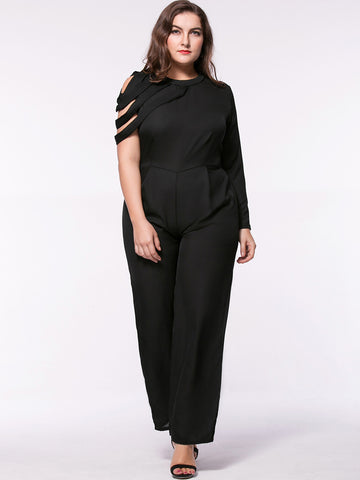 Trendy Designed Crew Neck Solid Straight Chiffon Plus Size Jumpsuit - Bychicstyle.com