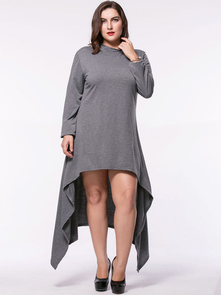 Hooded Asymmetric Hem Plain Plus Size Maxi Dress - Bychicstyle.com