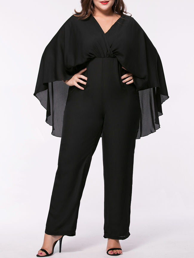 Bychicstyle Cape Sleeve V Neck Plain Straight Plus Size Jumpsuit