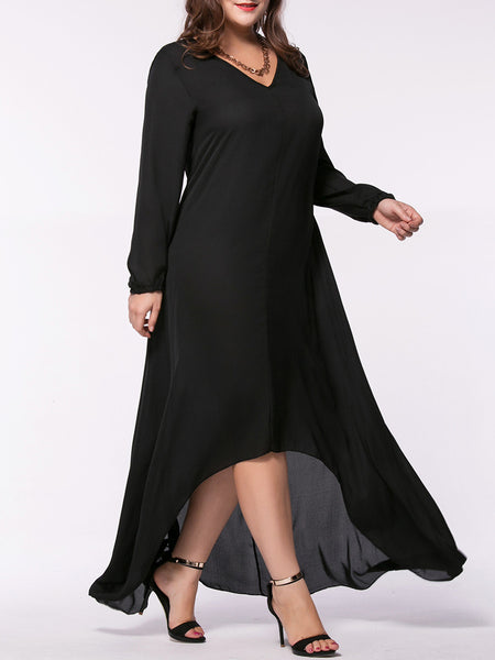 Loose High-Low V-Neck Solid Chiffon Plus Size Maxi Dress - Bychicstyle.com
