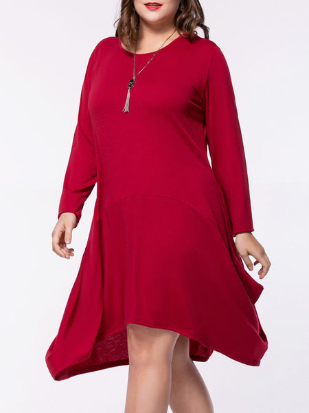 Casual Asymmetric Hem Pocket Solid Round Neck Plus Size Shift Dress