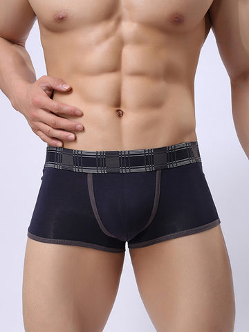 Contrast Trim Printed Pouch Men's Boxer Brief - Bychicstyle.com