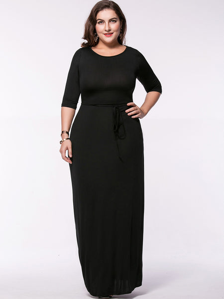 Round Neck Solid Plus Size Maxi Dress With Half Sleeve - Bychicstyle.com