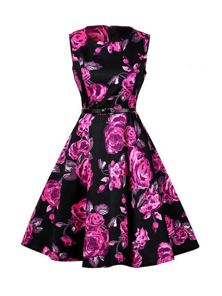 Casual Vintage Printed Round Neck Cotton Skater Dress