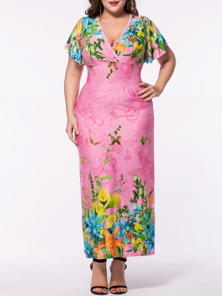 Empire Elastic Waist Deep V-Neck Plus Size Maxi Dress In Floral Printed - Bychicstyle.com