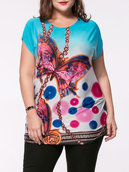 Gradient Butterfly Printed Plus Size T-Shirt - Bychicstyle.com