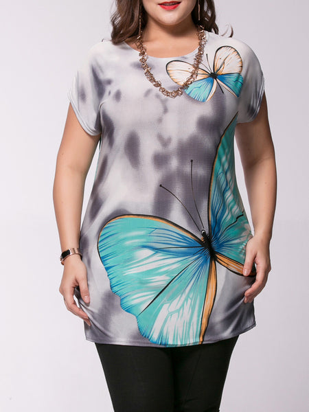 Casual Attractive Butterfly Printed Plus Size T-Shirt
