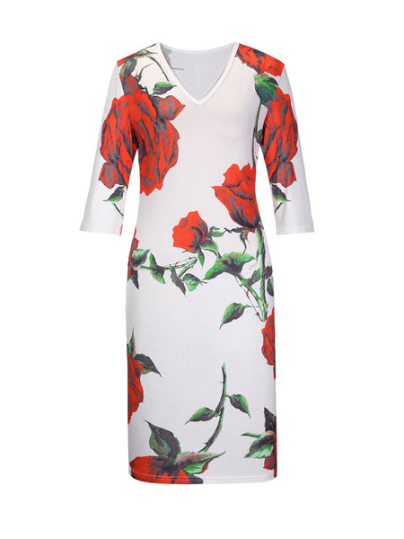 Ladylike Floral Printed V-Neck Plus Size Bodycon Dress - Bychicstyle.com