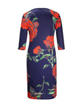 ByChicStyle Ladylike Floral Printed V-Neck Plus Size Bodycon Dress - Bychicstyle.com