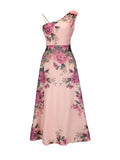 Asymmetric Neck Chiffon Plus Size Maxi Dress In Floral Printed - Bychicstyle.com