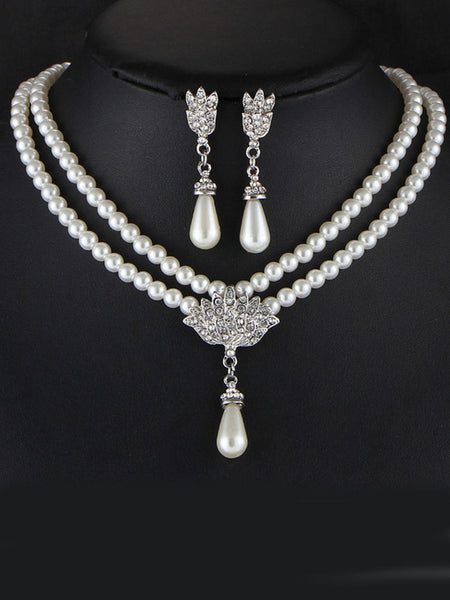 Casual Elegance Pearl Rhinestone Necklace And Earring